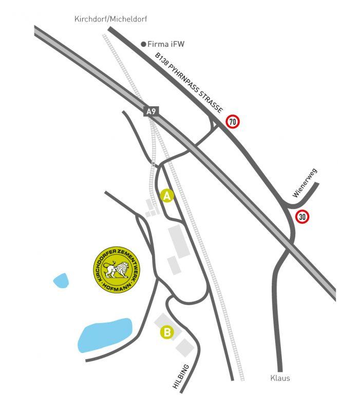 Lageplan, Zufahrt Steinbruch